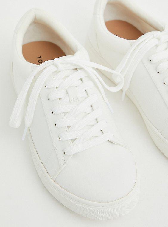 Plus Size White Recycled Canvas Sneaker (WW), WHITE, hi-res