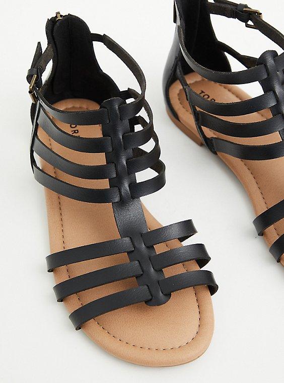 Black Faux Leather Gladiator Sandal (WW), COGNAC, hi-res