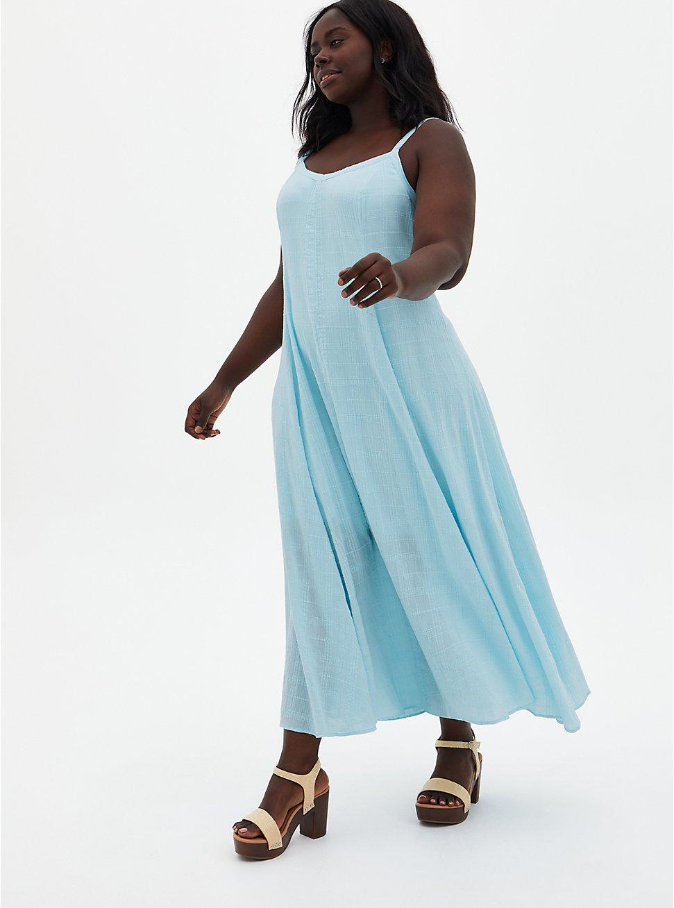 Light Blue Trapeze Maxi Dress, ICED AQUA, hi-res