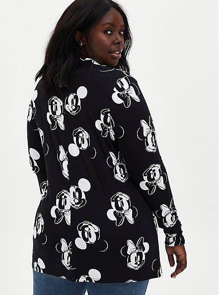 Plus Size Open-Front Cardigan - Disney Mickey & Minnie Super Soft Black, MICKEY FACE TOSS, alternate