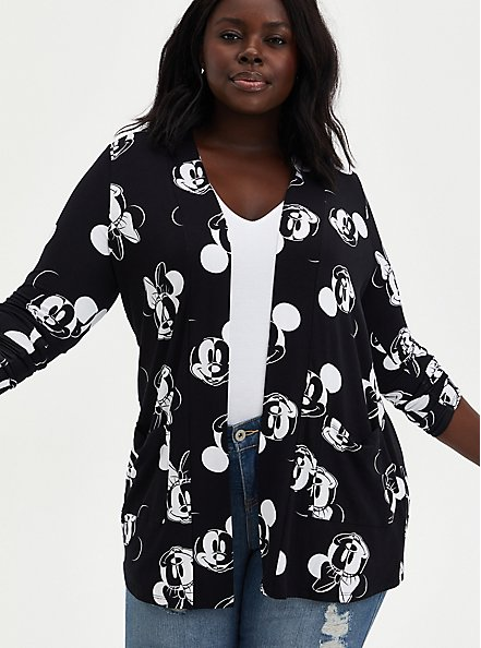 Plus Size Open-Front Cardigan - Disney Mickey & Minnie Super Soft Black, MICKEY FACE TOSS, hi-res