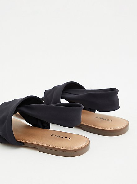 Black Stretch Fabric T-Strap Sandal (WW), BLACK, alternate