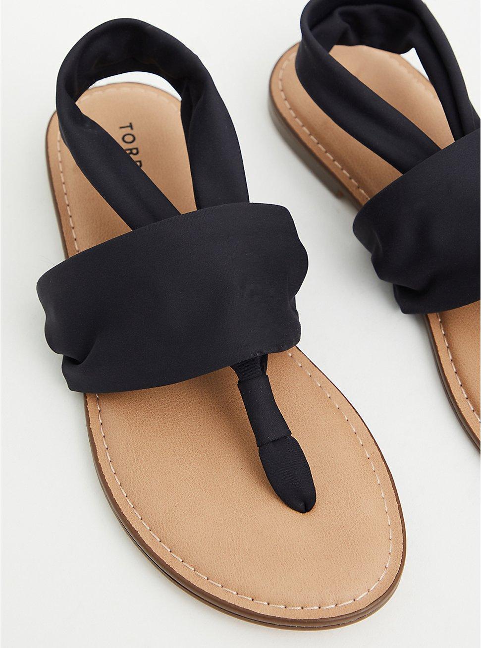 Black Stretch Fabric T-Strap Sandal (WW), BLACK, hi-res