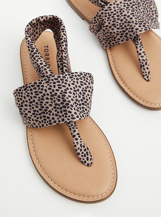 Cheetah Stretch Fabric T-Strap Sandal (WW), ANIMAL, hi-res
