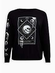 LoveSick Super Soft Celestial Skull Black Wash Tee, DEEP BLACK, hi-res