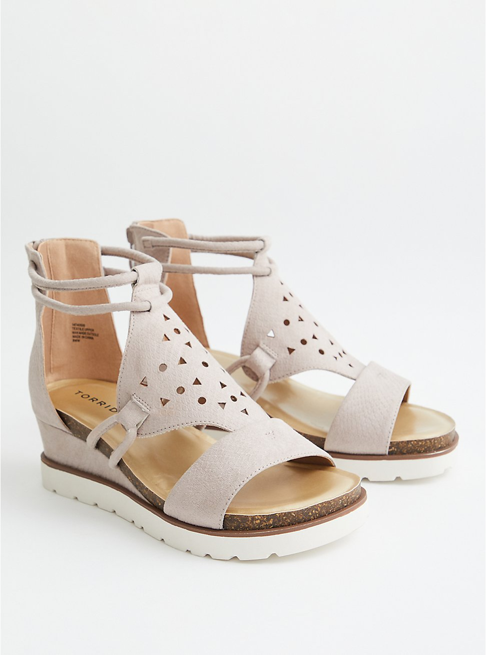 Taupe Faux Suede Sport Wedge, TAUPE, hi-res