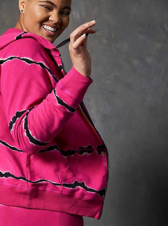 LoveSick Terry Pink Tie-Dye Zip Up Hoodie , TIE DYE, hi-res