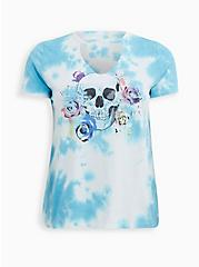 LoveSick Ivory & Teal Tie-Dye Floral Skull Choker Tee, TIE DYE, hi-res