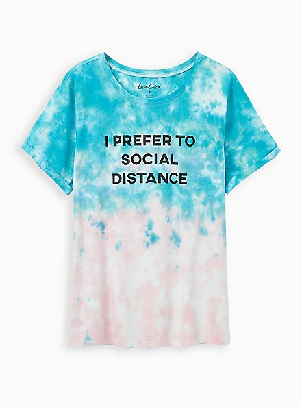LoveSick Relaxed Fit Crew Tee - Social Distance Tie-Dye Light Pink & Teal, TIE DYE, hi-res
