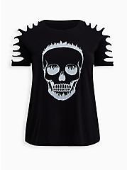 LoveSick Black Wash Skull Slash Tee, TIE DYE, hi-res