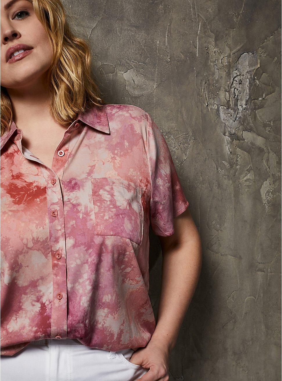 Pink Tie-Dye Challis Button Down Shirt, DYE - MUSHROOM, hi-res
