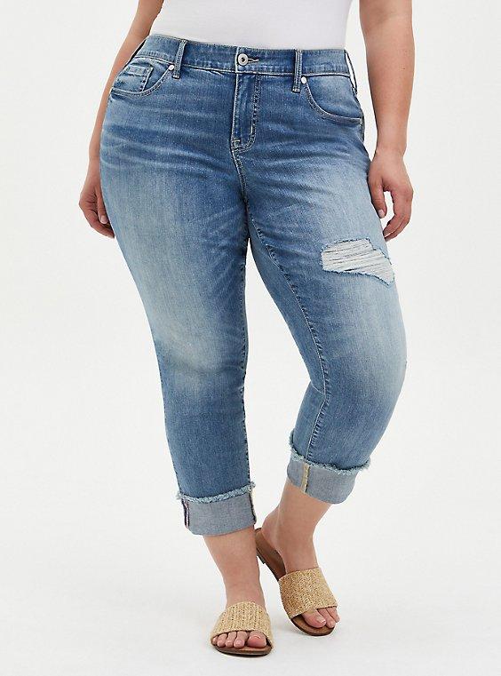 Plus Size Crop Boyfriend Jean - Vintage Stretch Light Wash , PSYCHE, hi-res