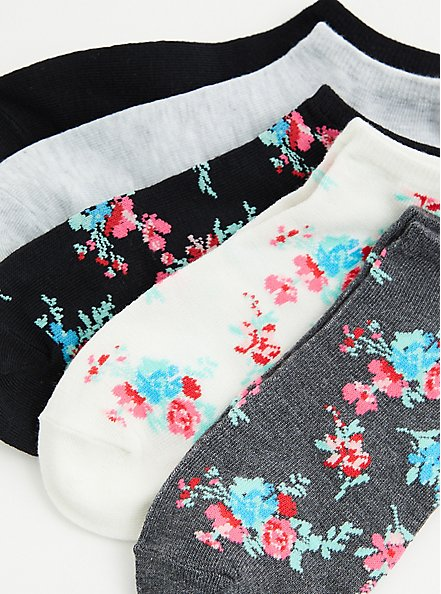 Multi Floral Ankle Sock Pack - Pack of 5 , MULTI, alternate
