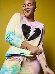LoveSick Heart Breaker Fleece Multi Tie-Dye Crewneck Sweatshirt, TIE DYE, hi-res