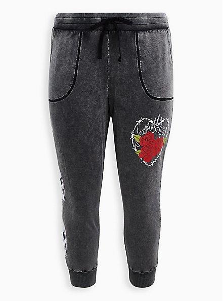 Classic Fit Jogger - LoveSick Heart & Flames Fleece Black Wash , , hi-res