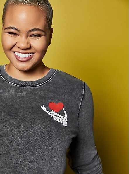 LoveSick Peace & Love Black Wash Crewneck Sweatshirt , , alternate
