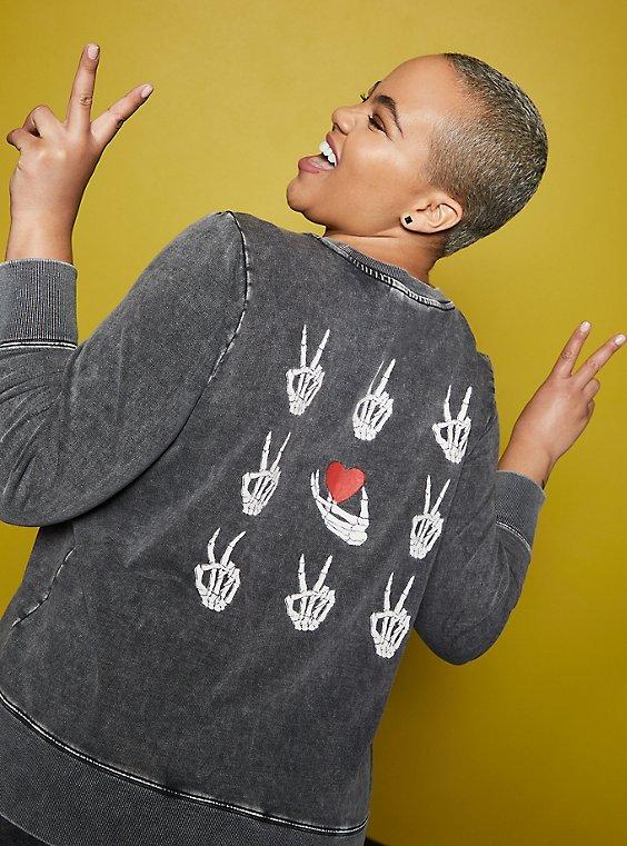 LoveSick Peace & Love Black Wash Crewneck Sweatshirt , , hi-res