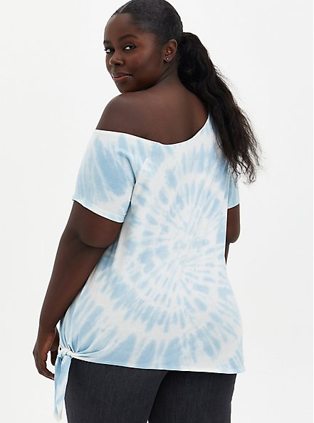 Off-Shoulder Tee - Red Hot Chili Peppers White Tie-Dye , WHITE, alternate