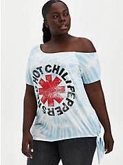 Off-Shoulder Tee - Red Hot Chili Peppers White Tie-Dye , WHITE, hi-res