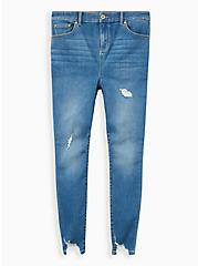 MidFit Super Skinny Jean - Super Soft Light Wash With Distressed Hem, HIP HUGGER, hi-res