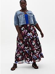 Black Floral Chiffon Tiered Maxi Skirt, FLORAL - BLACK, alternate