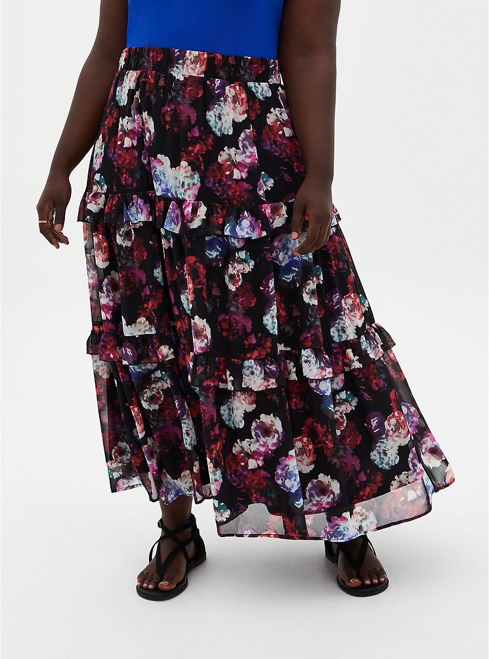 Black Floral Chiffon Tiered Maxi Skirt, FLORAL - BLACK, hi-res