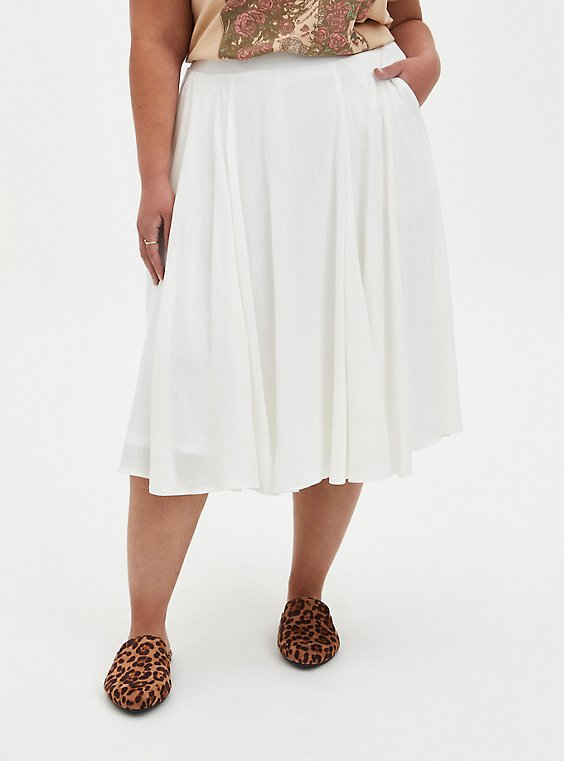 Ivory Woven Midi Skirt, CLOUD DANCER, hi-res