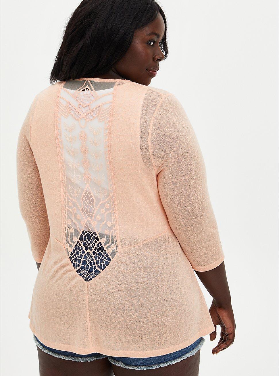 Plus Size Peach Lace Inset Handkerchief Cardigan Sweater, PEACH NECTAR, hi-res
