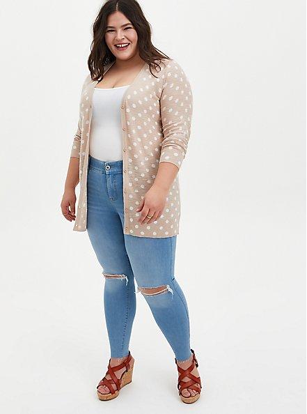 Oatmeal Polka Dot Slub Boyfriend Cardigan Sweater, MUSHROOM, alternate