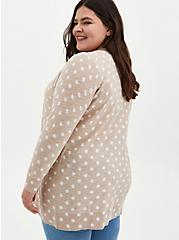 Oatmeal Polka Dot Slub Boyfriend Cardigan Sweater, MUSHROOM, alternate