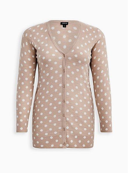 Oatmeal Polka Dot Slub Boyfriend Cardigan Sweater, MUSHROOM, hi-res