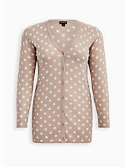 Oatmeal Polka Dot Slub Boyfriend Cardigan Sweater, MUSHROOM, hi-res