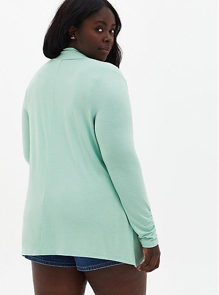 Green Super Soft Cardigan Sweater , GRAYED JADE, alternate