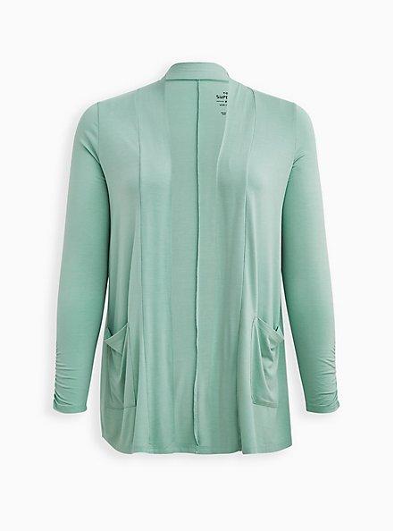 Green Super Soft Cardigan Sweater , GRAYED JADE, hi-res