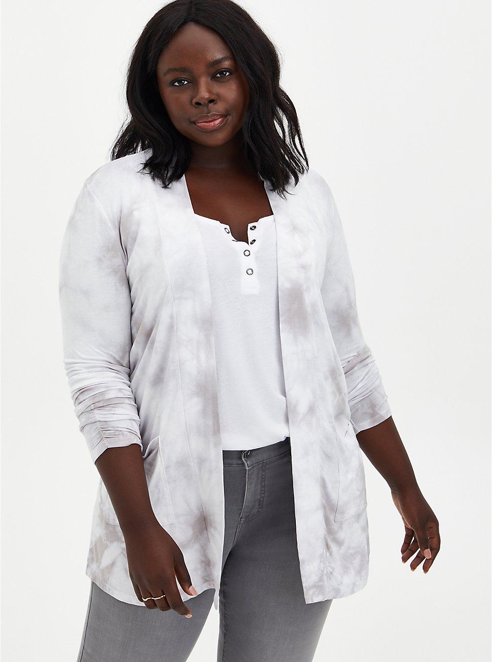 Grey Tie-Dye Super Soft Cardigan Sweater, TIE DYE, hi-res