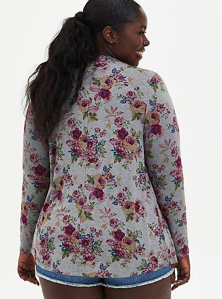 Super Soft Grey Floral Drape Front Cardigan , FLORAL - GREY, alternate