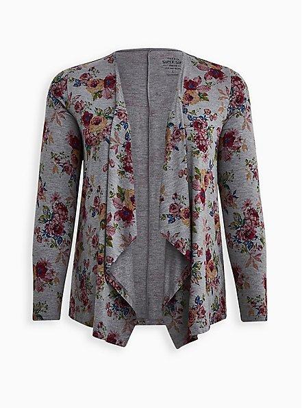 Super Soft Grey Floral Drape Front Cardigan , FLORAL - GREY, hi-res
