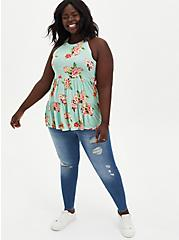 High Neck Tiered Top - Super Soft Floral Mint, OTHER PRINTS, alternate