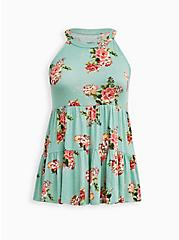High Neck Tiered Top - Super Soft Floral Mint, OTHER PRINTS, hi-res