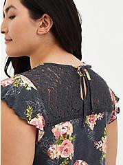 Grey Floral Lace Smock Top , OTHER PRINTS, alternate