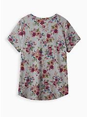 Pocket Tee - Heritage Slub Heather Grey Floral , OTHER PRINTS, alternate
