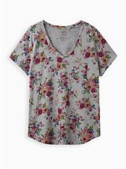 Pocket Tee - Heritage Slub Heather Grey Floral , OTHER PRINTS, hi-res