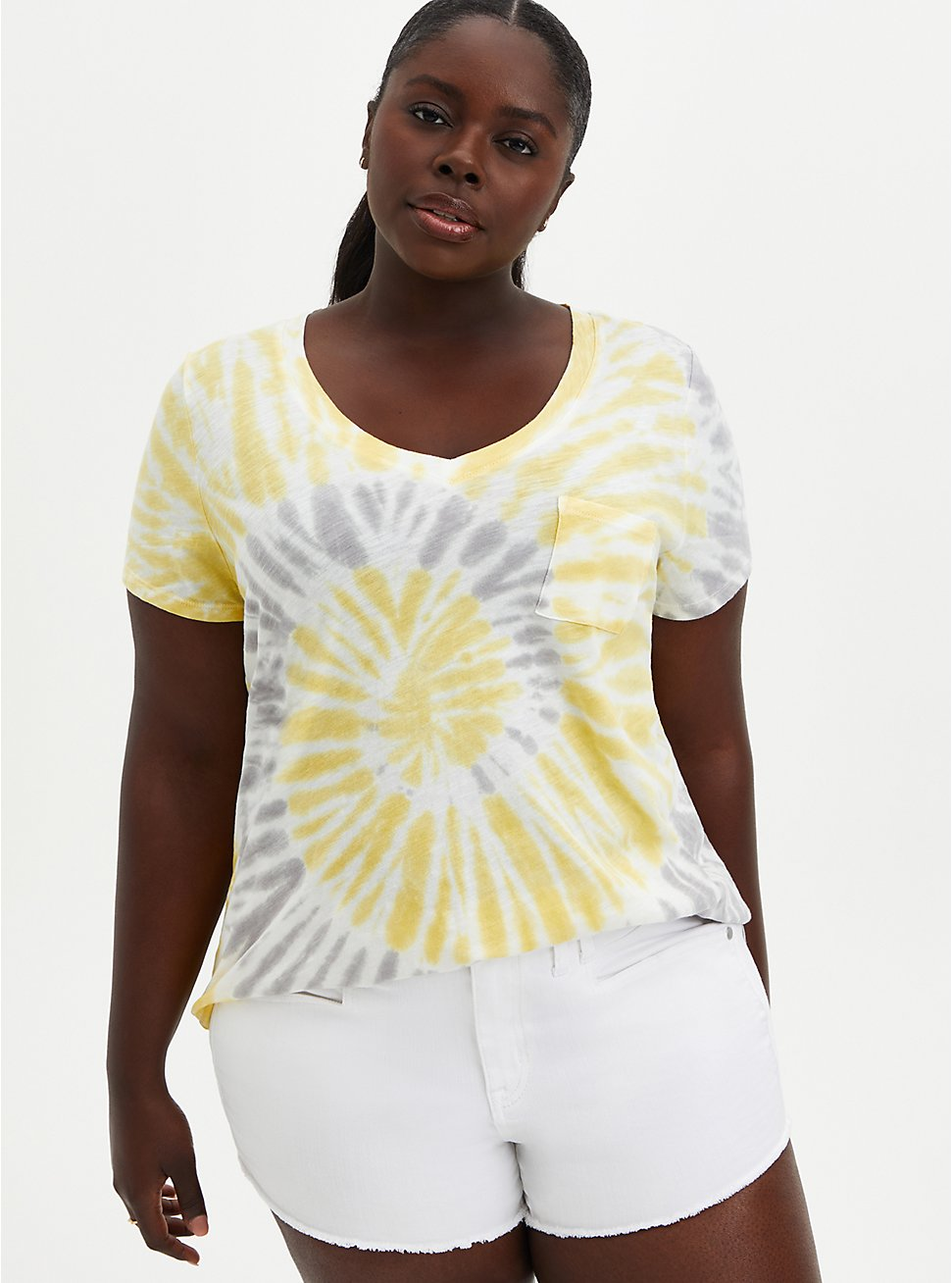 Pocket Tee - Heritage Slub Yellow & Grey Tie-Dye , OTHER PRINTS, hi-res