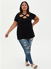 Crisscross Tee - Super Soft Black , DEEP BLACK, alternate