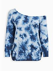 Blue Tie-Dye Terry Off Shoulder Sweatshirt , OTHER PRINTS, hi-res
