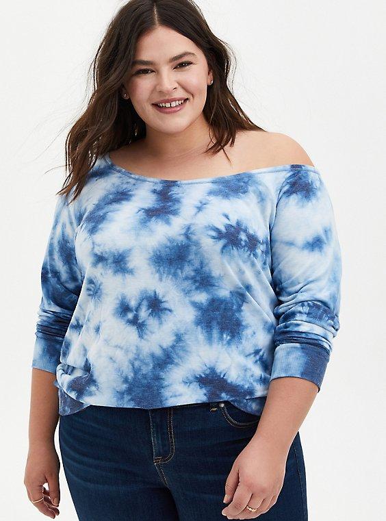 Blue Tie-Dye Terry Off Shoulder Sweatshirt , , hi-res