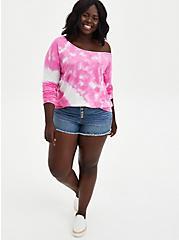 Plus Size Pink Tie-Dye Terry Off Shoulder Sweatshirt, OTHER PRINTS, alternate