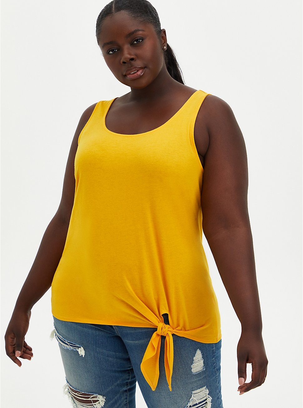 Super Soft Yellow Side Knot Tank  , GOLD, hi-res