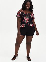 Super Soft Black Floral Off Shoulder Top , OTHER PRINTS, alternate