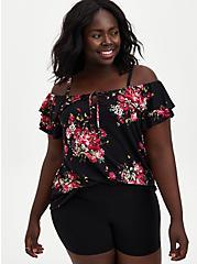 Super Soft Black Floral Off Shoulder Top , OTHER PRINTS, hi-res